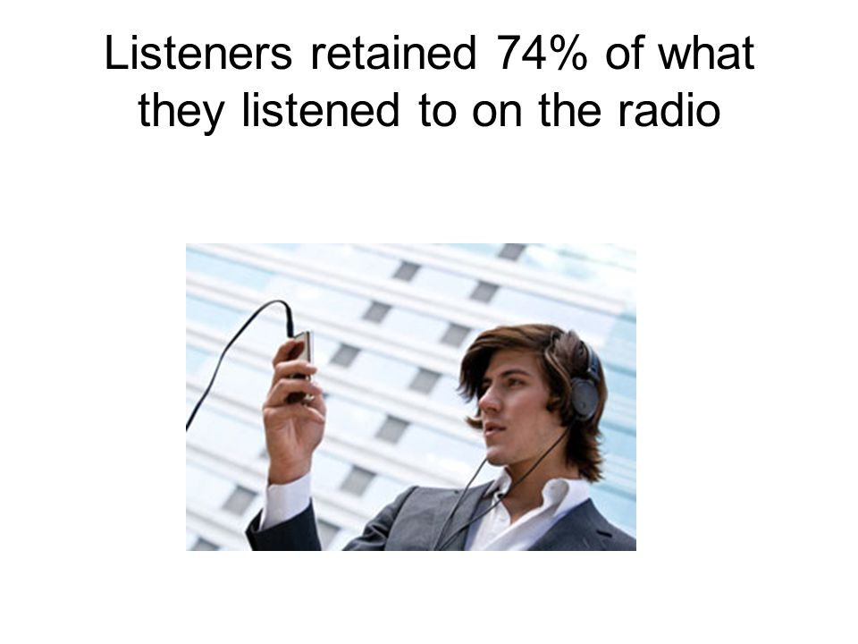 Listeners retained 74% of what they listened to on the radio