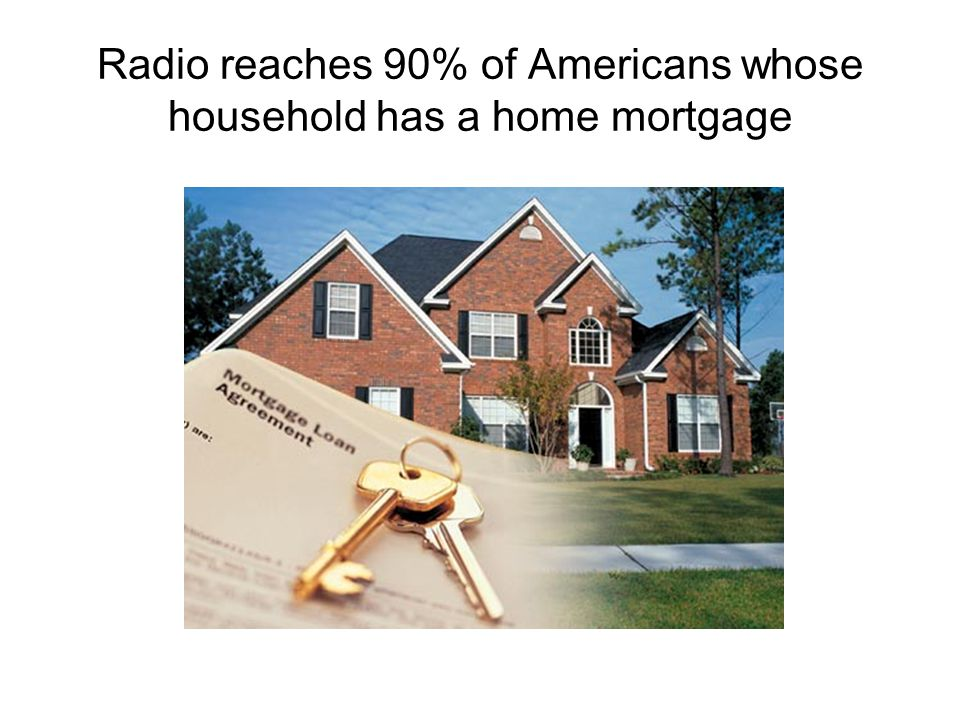 Radio reaches 90% of Americans whose household has a home mortgage