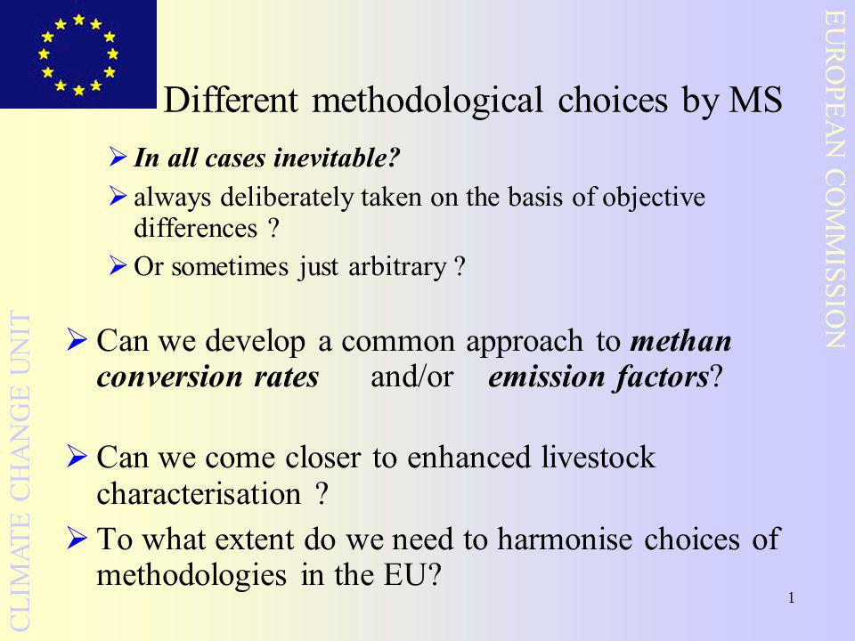 1 EUROPEAN COMMISSION CLIMATE CHANGE UNIT Different methodological choices by MS  In all cases inevitable.
