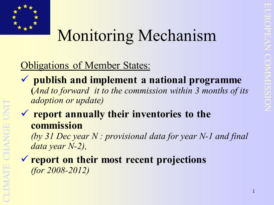 1 EUROPEAN COMMISSION CLIMATE CHANGE UNIT Monitoring Mechanism Obligations of Member States: publish and implement a national programme (And to forwar