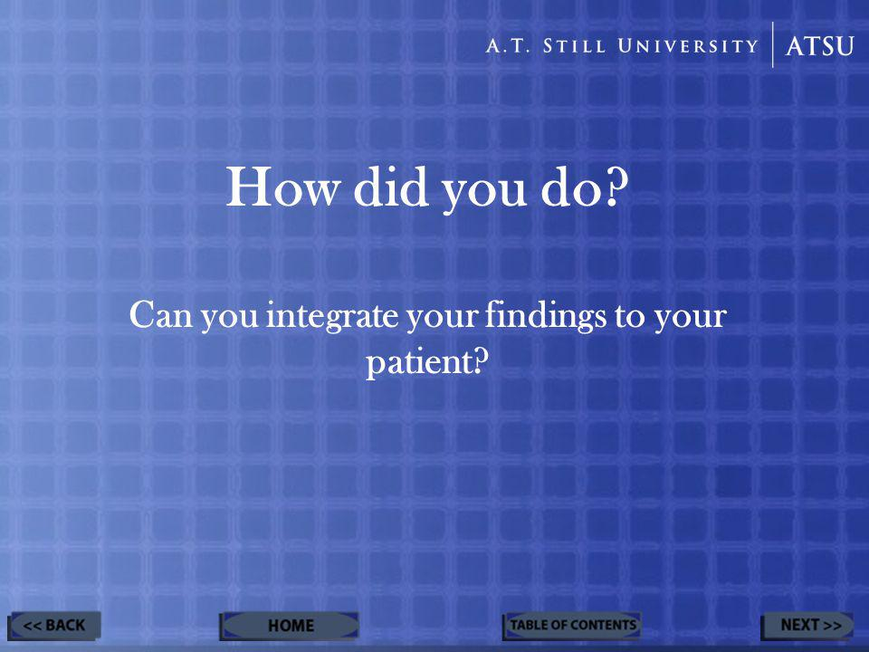 How did you do Can you integrate your findings to your patient