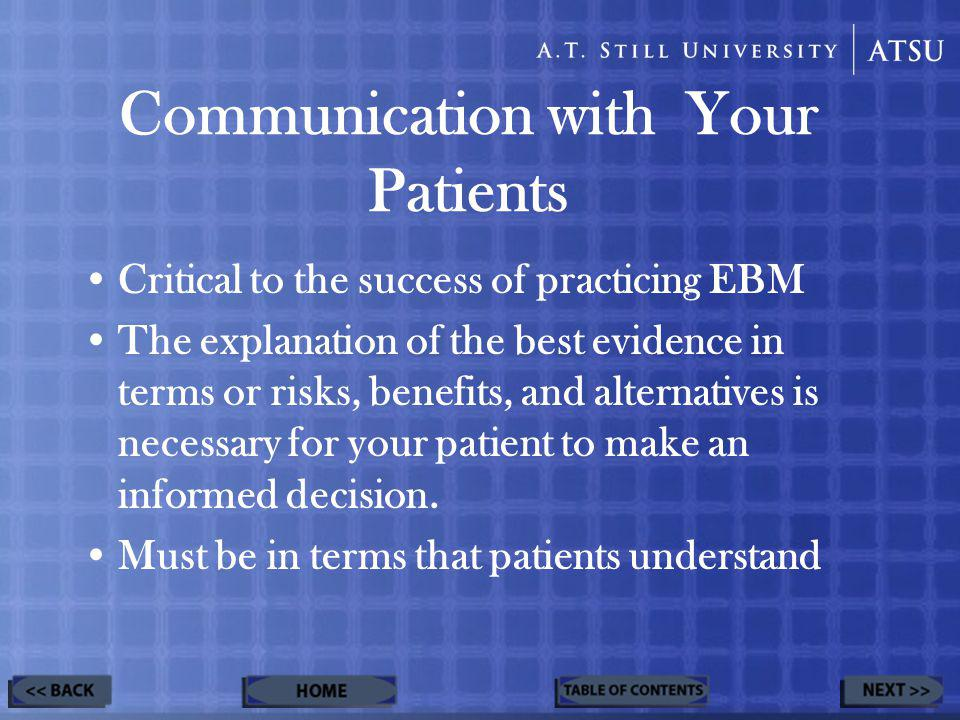Communication with Your Patients Critical to the success of practicing EBM The explanation of the best evidence in terms or risks, benefits, and alternatives is necessary for your patient to make an informed decision.