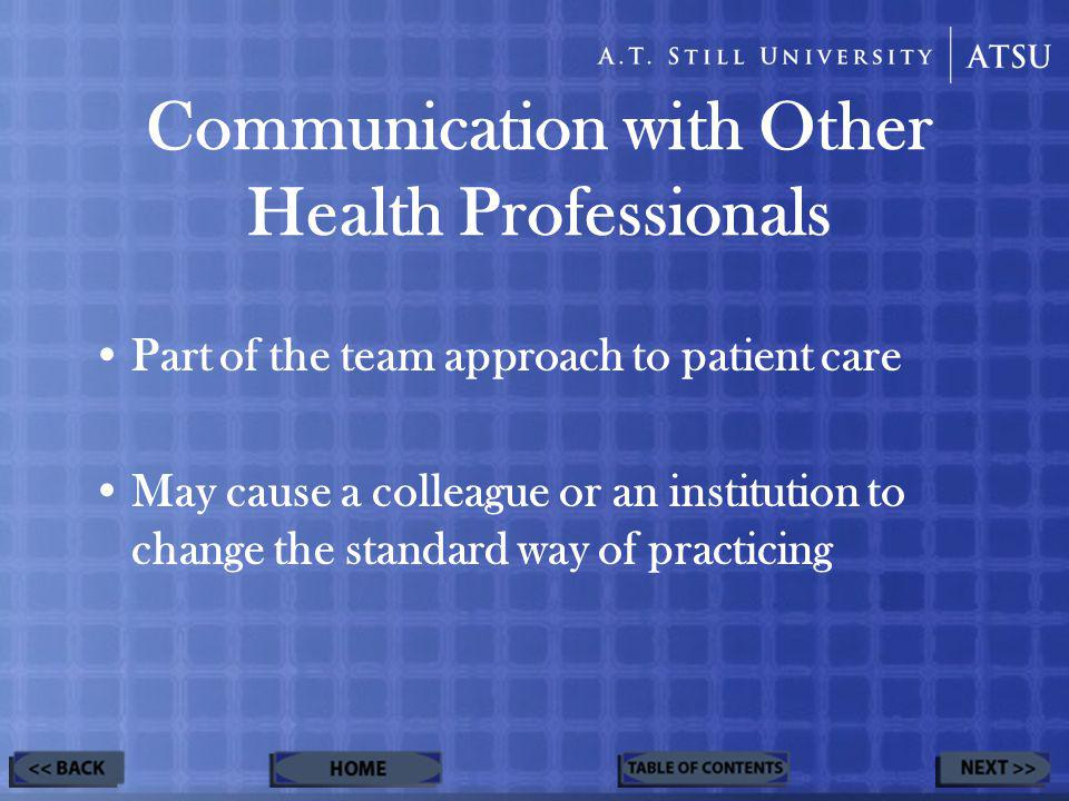 Communication with Other Health Professionals Part of the team approach to patient care May cause a colleague or an institution to change the standard way of practicing