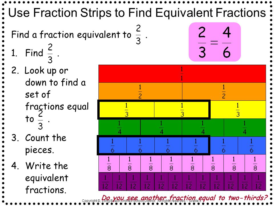 Copyright ©, Long Beach Unified School District. All rights reserved. - Grade 3 Use Fraction Strips to Find Equivalent Fractions Find a fraction equiv