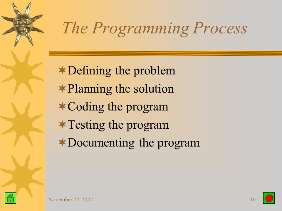November 22, 20029 Programmers  Prepare instructions that make up the program  Run the instructions to see if they produce the correct results  Make corrections  Document the program  Interact with –Users –Managers –Systems analysts  Coordinate with other programmers to build a complete system