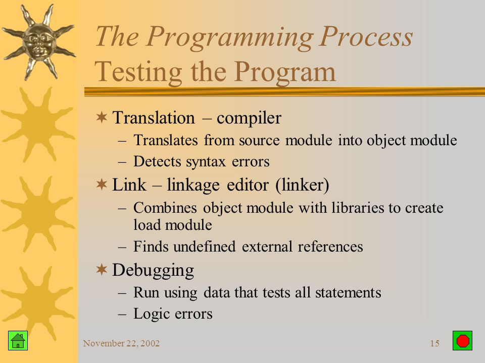 November 22, 200214 The Programming Process Coding the Program  Translate algorithm into a formal programming language  Within syntax of the language  How to key in the statements.