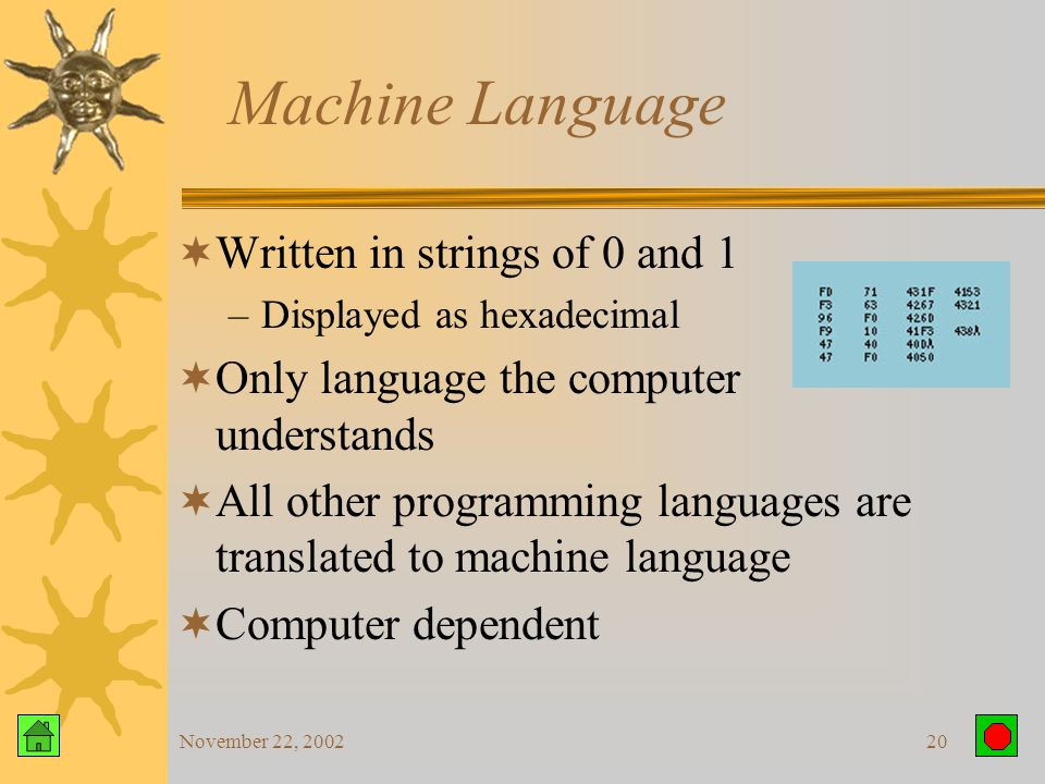 November 22, 200219 Language Generations  Low levels closer to binary  High levels closer to human code  Five Generations: –Procedural Languages Machine language Assembly language High-level language – 3GL –Nonprocedural Languages Very high-level language – 4GL Natural language – 5GL