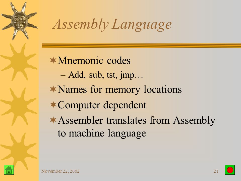 November 22, 200220 Machine Language  Written in strings of 0 and 1 –Displayed as hexadecimal  Only language the computer understands  All other programming languages are translated to machine language  Computer dependent