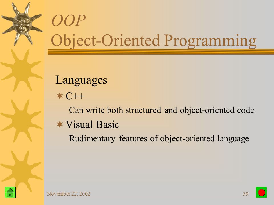 November 22, 200238 OOP Object-Oriented Programming Using Objects in Business Class:Customer Subclass:Retail or Wholesale Instance: John Smith Retail and Wholesale customers automatically inherit customer address since it is part of the Customer class