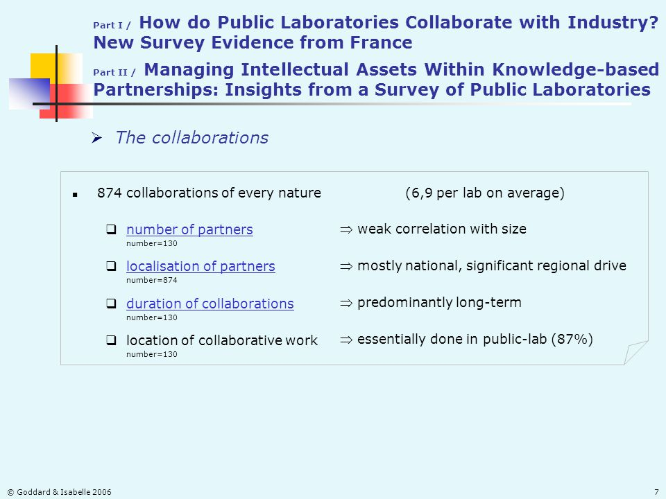 © Goddard & Isabelle 20067  The collaborations 874 collaborations of every nature(6,9 per lab on average)  localisation of partners localisation of partners number=874  location of collaborative work number=130  number of partners number of partners number=130  duration of collaborations duration of collaborations number=130  weak correlation with size  mostly national, significant regional drive  predominantly long-term  essentially done in public-lab (87%) Part I / How do Public Laboratories Collaborate with Industry.