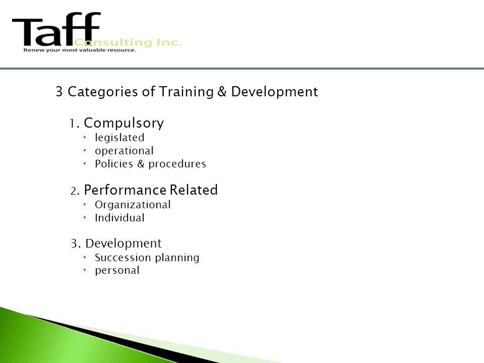 3 Categories of Training & Development 1.