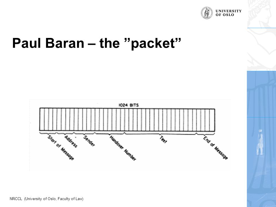 "NRCCL (University of Oslo, Faculty of Law) Paul Baran – the ""packet"""