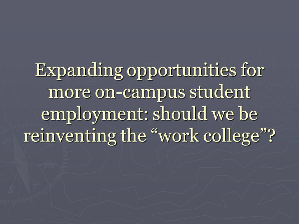 """Expanding opportunities for more on-campus student employment: should we be reinventing the """"work college""""?"""