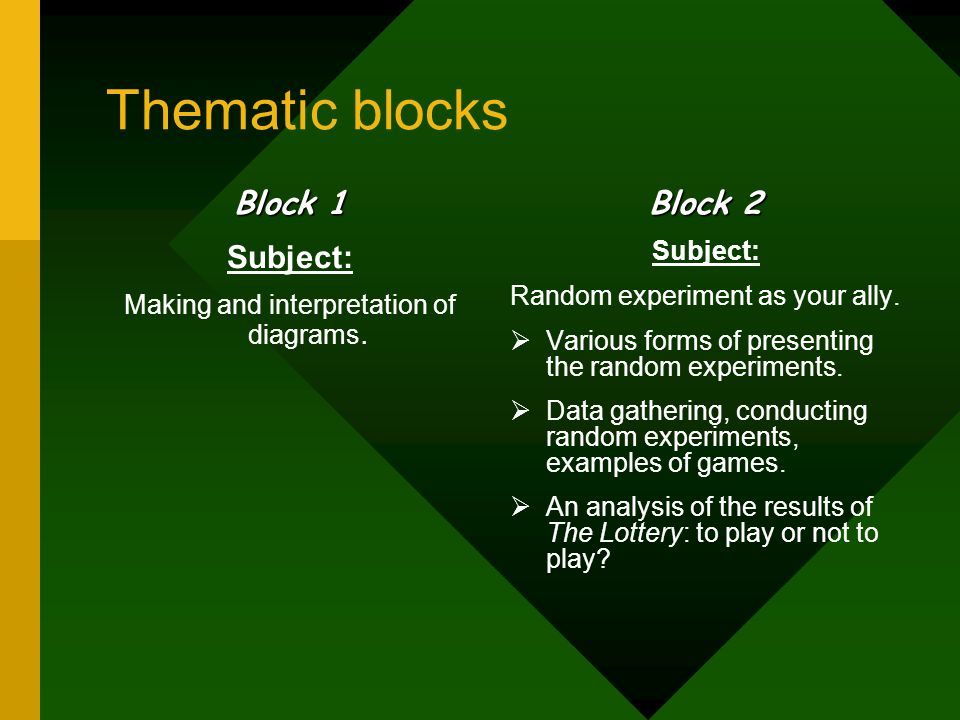 Thematic blocks Block 1 Subject: Making and interpretation of diagrams. Block 2 Subject: Random experiment as your ally.  Various forms of presenting