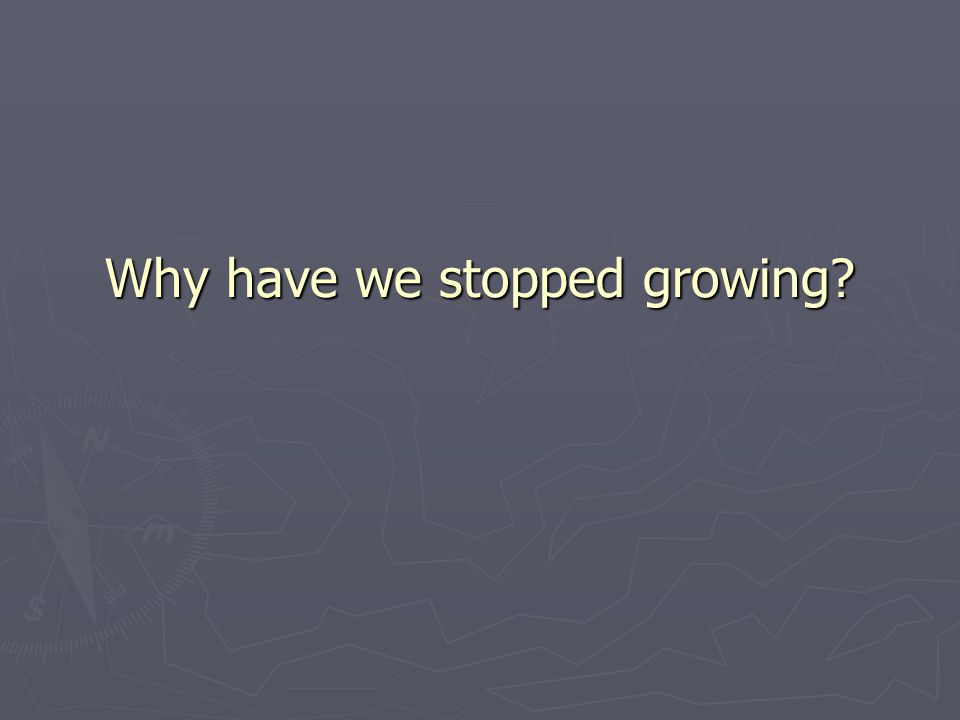 Why have we stopped growing?