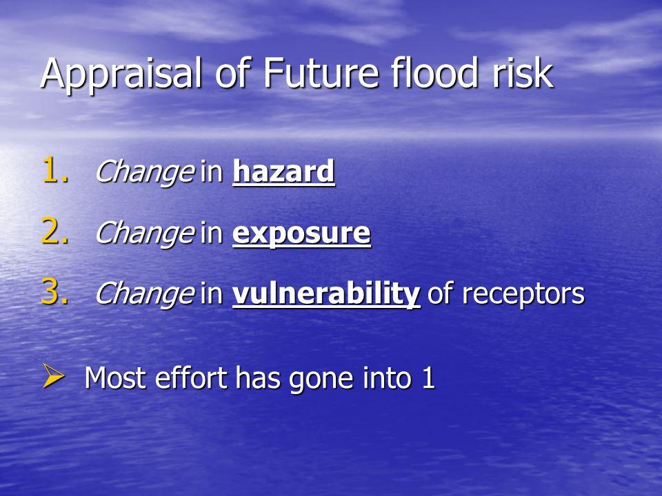 Appraisal of Future flood risk 1. Change in hazard 2. Change in exposure 3. Change in vulnerability of receptors  Most effort has gone into 1