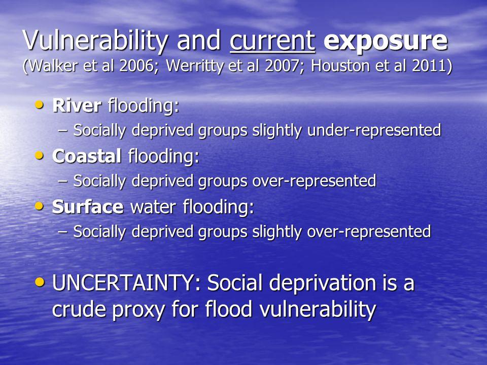 Vulnerability and current exposure (Walker et al 2006; Werritty et al 2007; Houston et al 2011) River flooding: River flooding: –Socially deprived gro