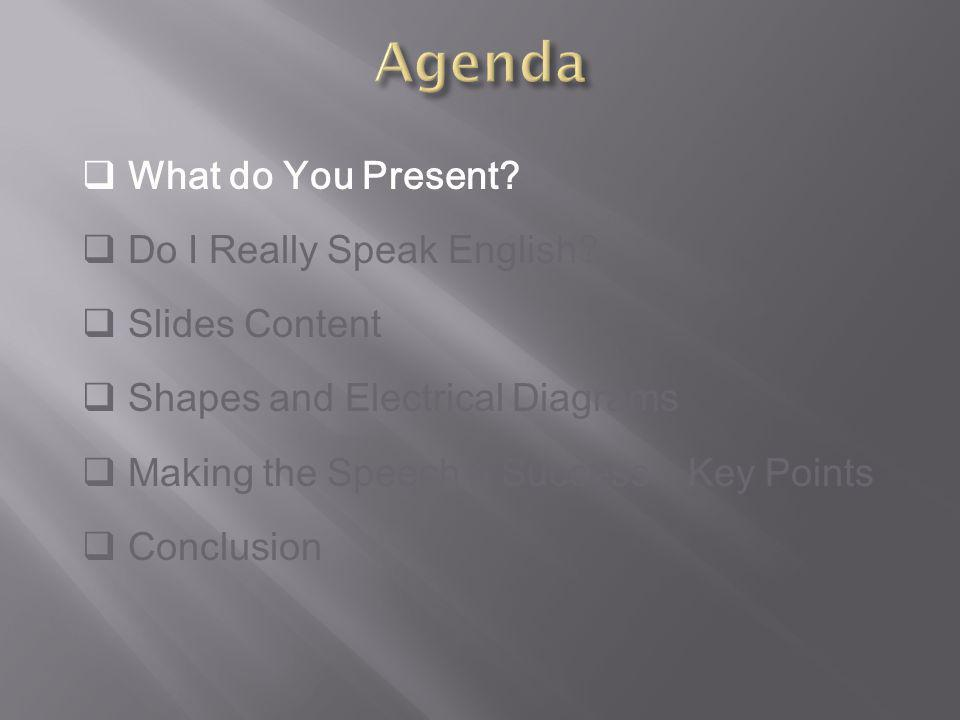 A few points to respect in order to succeed 1.Put an agenda in place and briefly explain what you will cover 2.Rehearse your presentation and respect your time slot 3.PPT illustrates your speech and not the opposite: do not read.