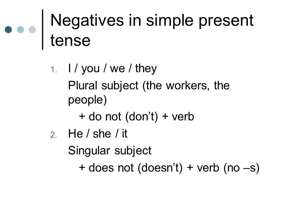 Negatives in simple present tense 1.