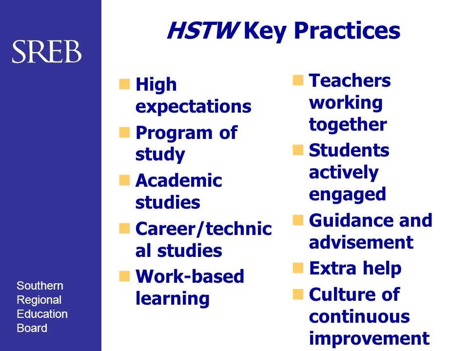 Southern Regional Education Board HSTW Key Practices High expectations Program of study Academic studies Career/technic al studies Work-based learning