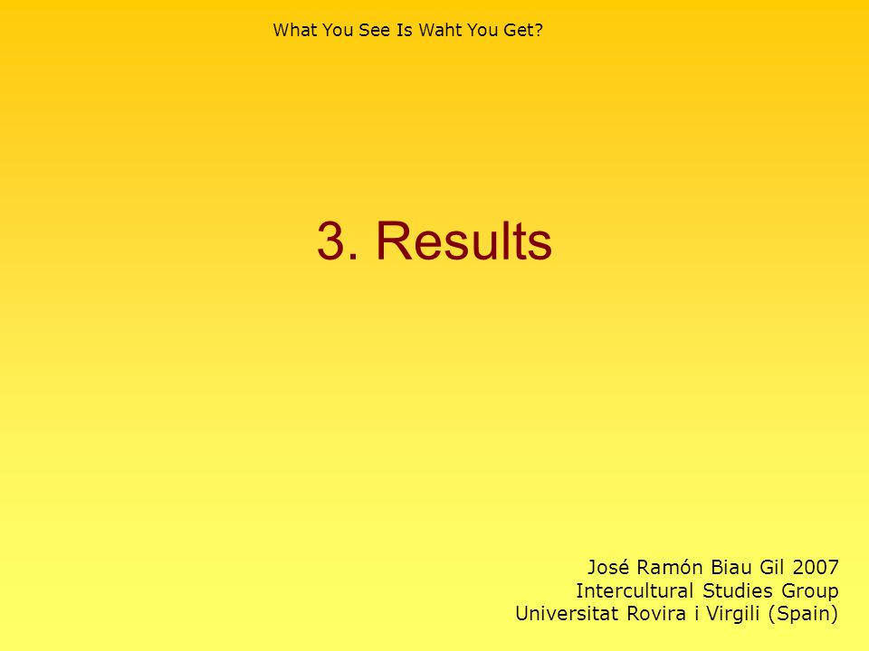 3. Results What You See Is Waht You Get.