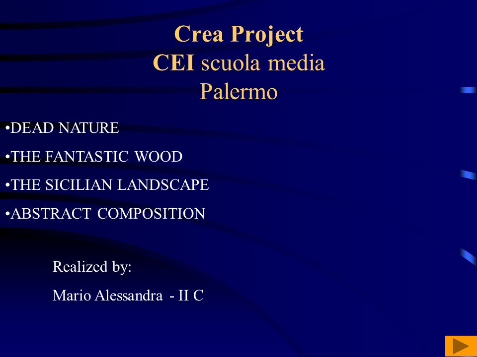 Crea Project CEI scuola media Palermo DEAD NATURE THE FANTASTIC WOOD THE SICILIAN LANDSCAPE ABSTRACT COMPOSITION Realized by: Mario Alessandra - II C