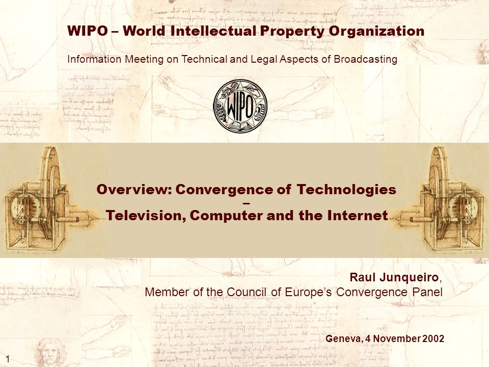 Overview: Convergence of Technologies – Television, Computer and the Internet WIPO – World Intellectual Property Organization Information Meeting on Technical and Legal Aspects of Broadcasting Raul Junqueiro, Member of the Council of Europe's Convergence Panel Geneva, 4 November 2002 1