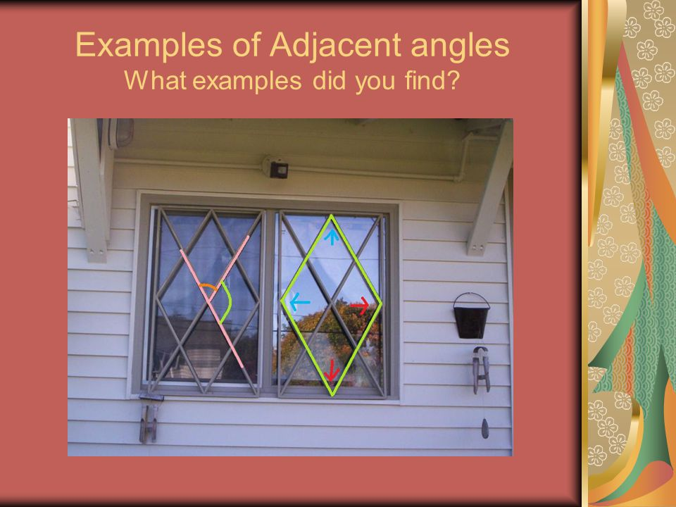 Examples of Adjacent angles What examples did you find?