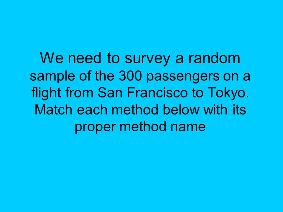 We need to survey a random sample of the 300 passengers on a flight from San Francisco to Tokyo. Match each method below with its proper method name