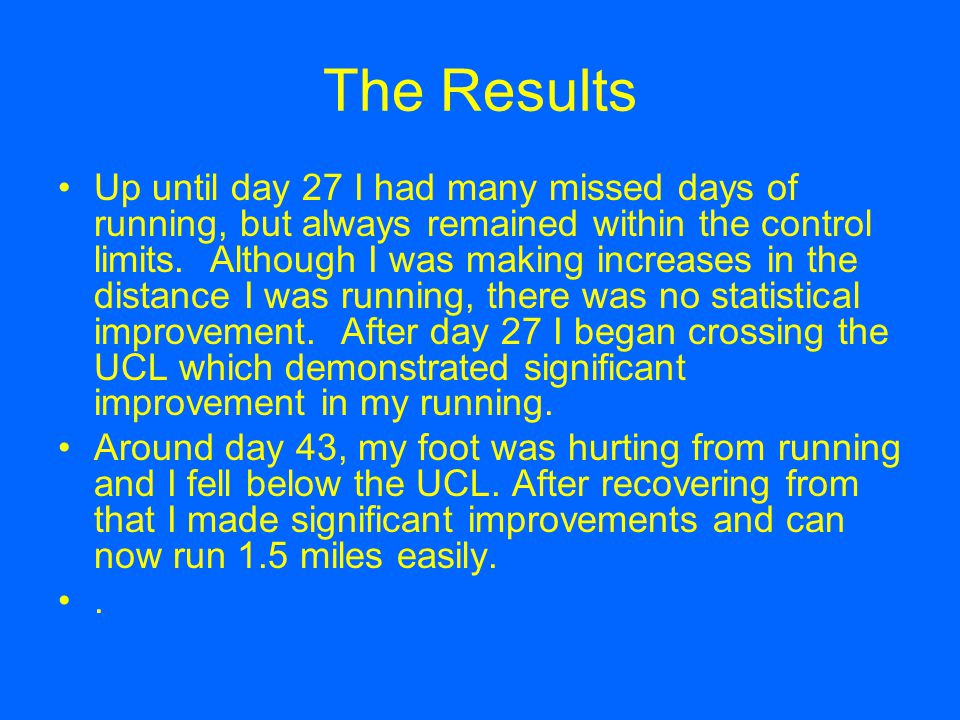 The Results Up until day 27 I had many missed days of running, but always remained within the control limits.