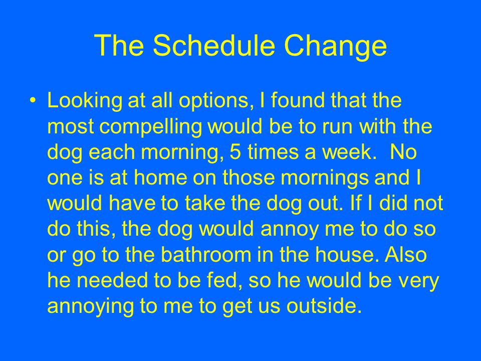 The Schedule Change Looking at all options, I found that the most compelling would be to run with the dog each morning, 5 times a week.