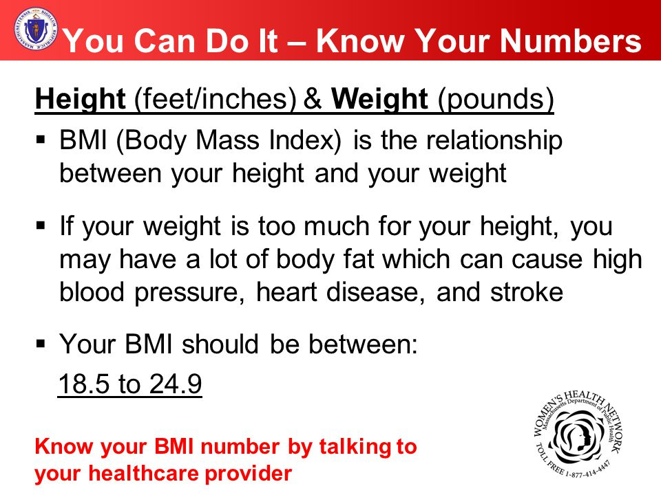 You Can Do It – Know Your Numbers Height (feet/inches) & Weight (pounds)  BMI (Body Mass Index) is the relationship between your height and your weight  If your weight is too much for your height, you may have a lot of body fat which can cause high blood pressure, heart disease, and stroke  Your BMI should be between: 18.5 to 24.9 Know your BMI number by talking to your healthcare provider