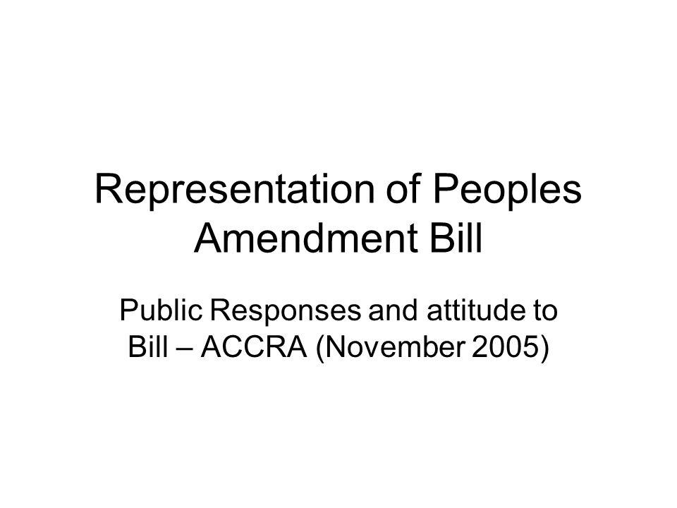 Representation of Peoples Amendment Bill Public Responses and attitude to Bill – ACCRA (November 2005)