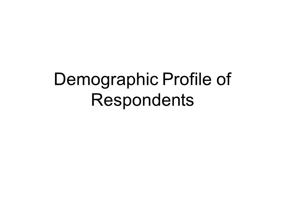 Demographic Profile of Respondents