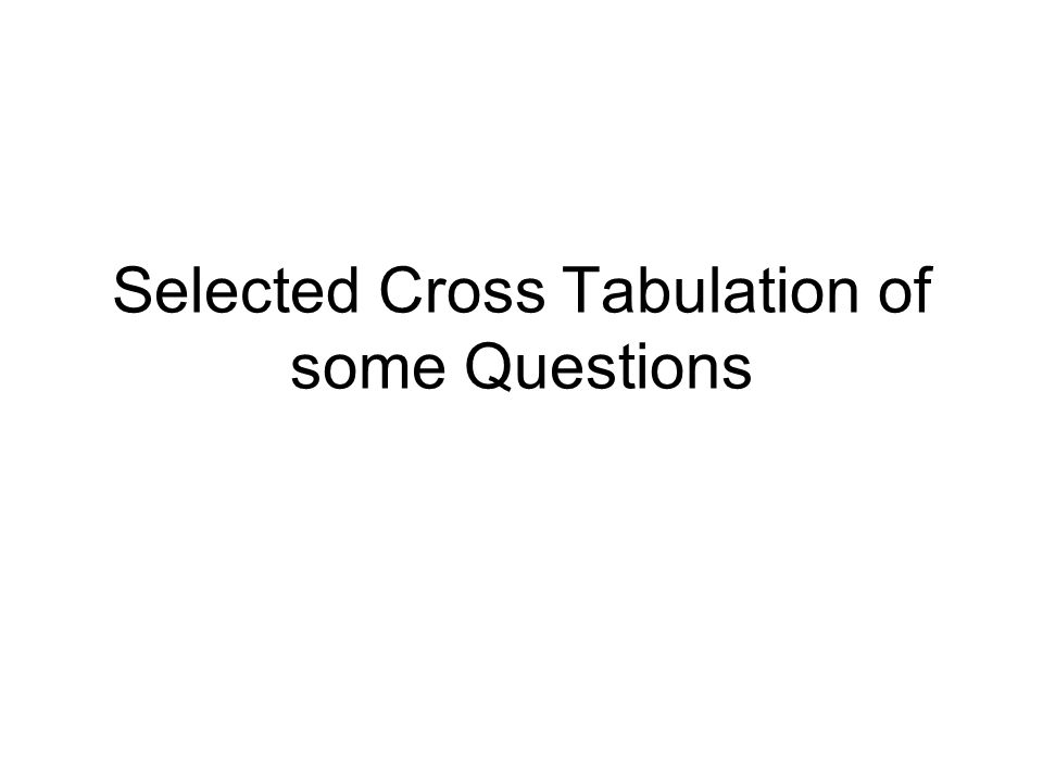 Selected Cross Tabulation of some Questions