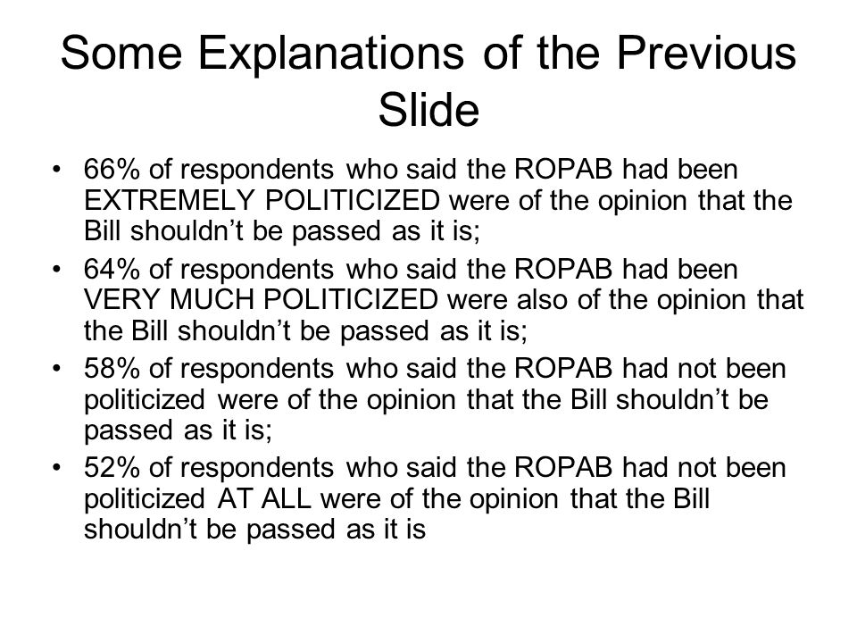 Some Explanations of the Previous Slide 66% of respondents who said the ROPAB had been EXTREMELY POLITICIZED were of the opinion that the Bill shouldn