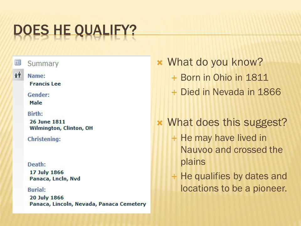  What do you know.  Born in Ohio in 1811  Died in Nevada in 1866  What does this suggest.