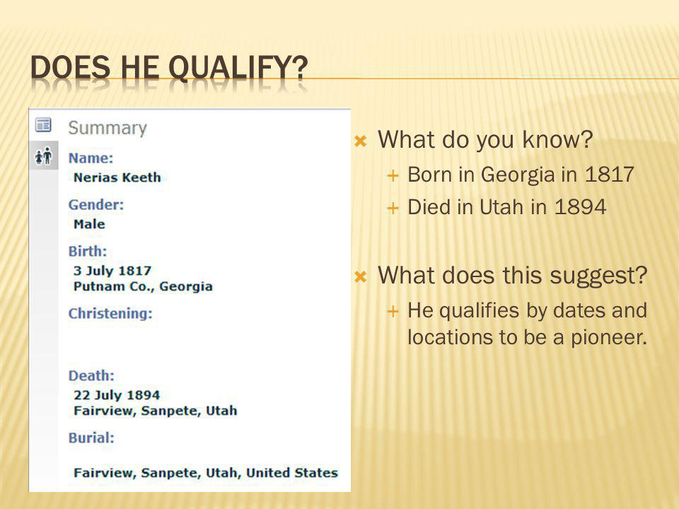  What do you know.  Born in Georgia in 1817  Died in Utah in 1894  What does this suggest.