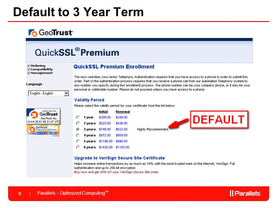 Parallels – Optimized Computing TM 9 Default to 3 Year Term