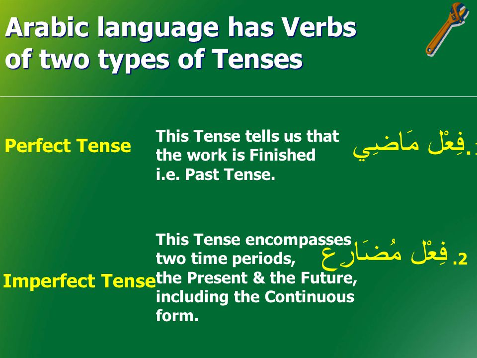 Arabic language has Verbs of two types of Tenses Perfect Tense Imperfect Tense.