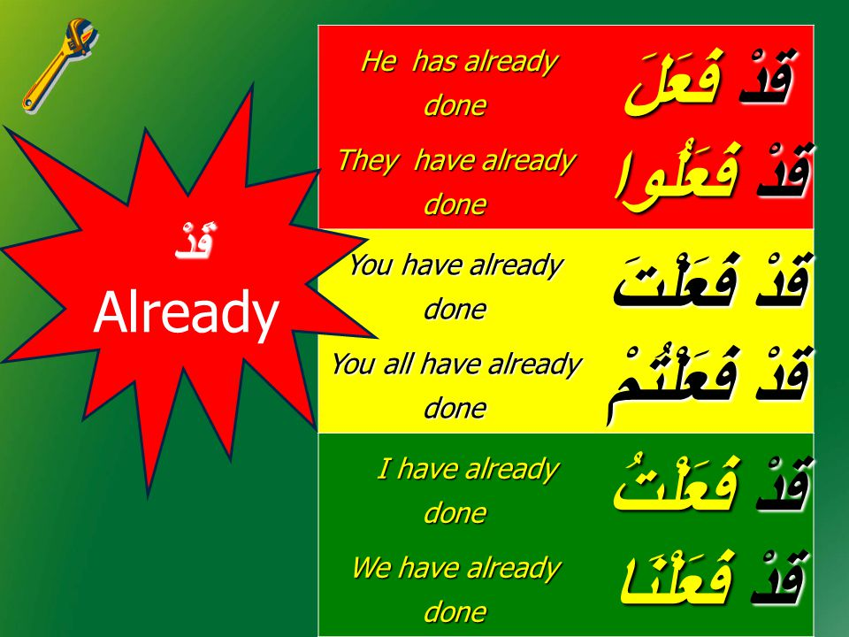 He has already done He has already done They have already done قَدْ فَعَلَ قَدْ فَعَلُوا You have already done You all have already done قَدْ فَعَلْتَ قَدْ فَعَلْتُمْ I have already done I have already done We have already done قَدْ فَعَلْتُ قَدْ فَعَلْنَا قَدْ قَدْ Already