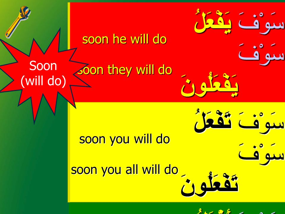 soon he will do soon they will do يَفْعَلُ يَفْعَلُ يَفْعَلُونَ يَفْعَلُونَسَوْفَسَوْفَ soon you will do soon you all will do تَفْعَلُ تَفْعَلُ تَفْعَلُونَ تَفْعَلُونَسَوْفَسَوْفَ soon I will do soon we will do أَفْعَلُ أَفْعَلُ نَفْعَلُ نَفْعَلُسَوْفَسَوْفَ Soon (will do)