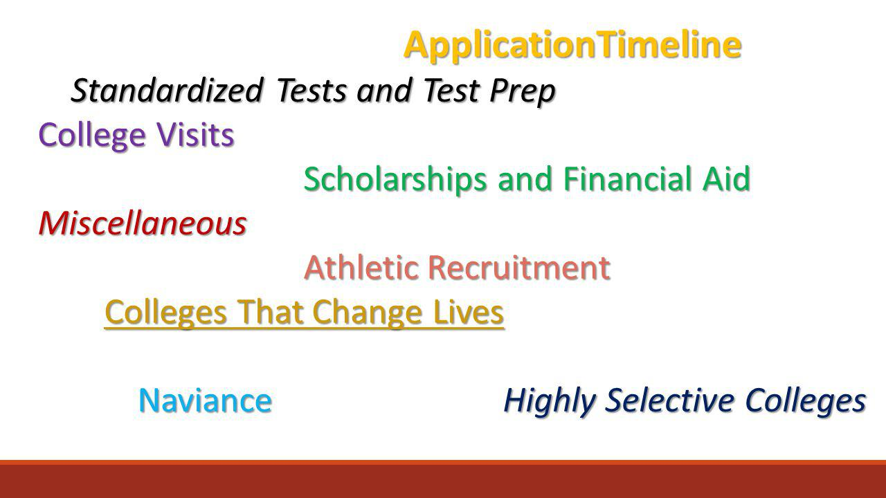 ApplicationTimeline Standardized Tests and Test Prep College Visits Scholarships and Financial Aid Miscellaneous Athletic Recruitment Colleges That Change Lives Colleges That Change Lives NavianceHighly Selective Colleges