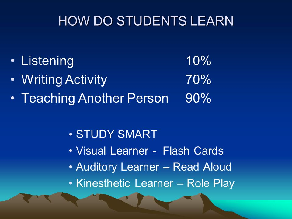 HOW DO STUDENTS LEARN Listening 10% Writing Activity70% Teaching Another Person90% STUDY SMART Visual Learner - Flash Cards Auditory Learner – Read Aloud Kinesthetic Learner – Role Play