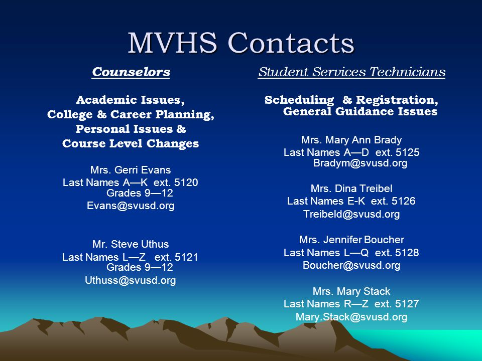 MVHS Contacts Counselors Academic Issues, College & Career Planning, Personal Issues & Course Level Changes Mrs.