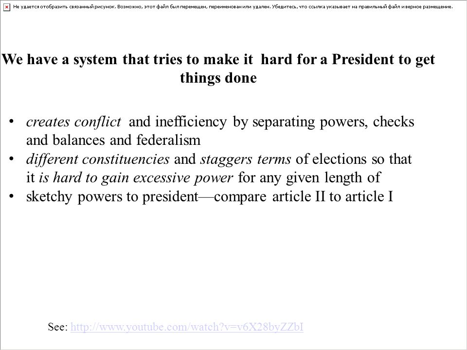 creates conflict and inefficiency by separating powers, checks and balances and federalism different constituencies and staggers terms of elections so