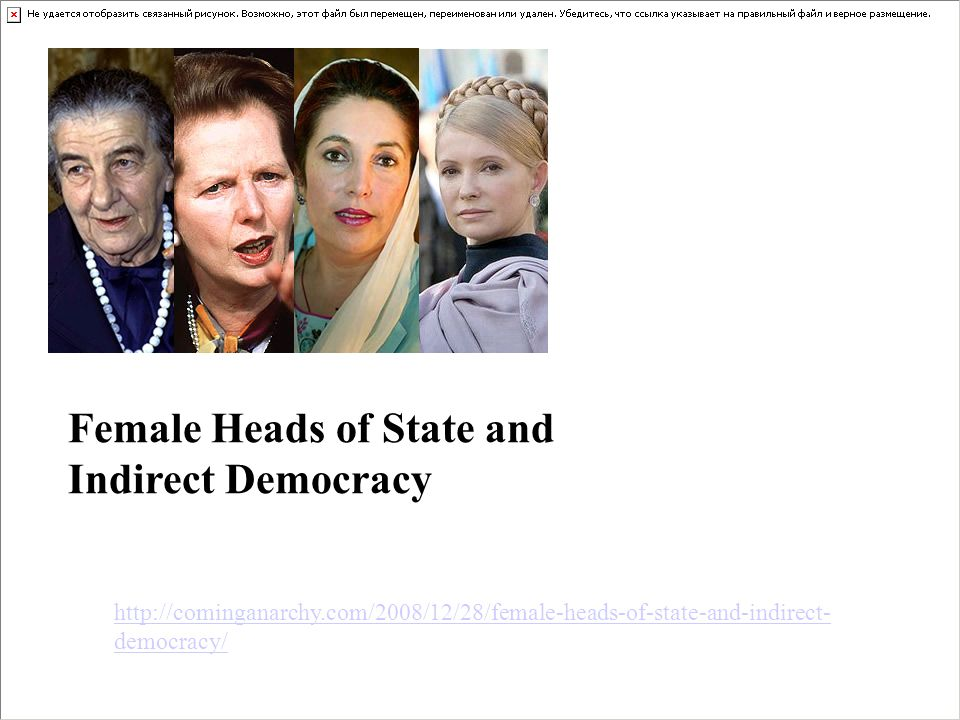 http://cominganarchy.com/2008/12/28/female-heads-of-state-and-indirect- democracy/ Female Heads of State and Indirect Democracy