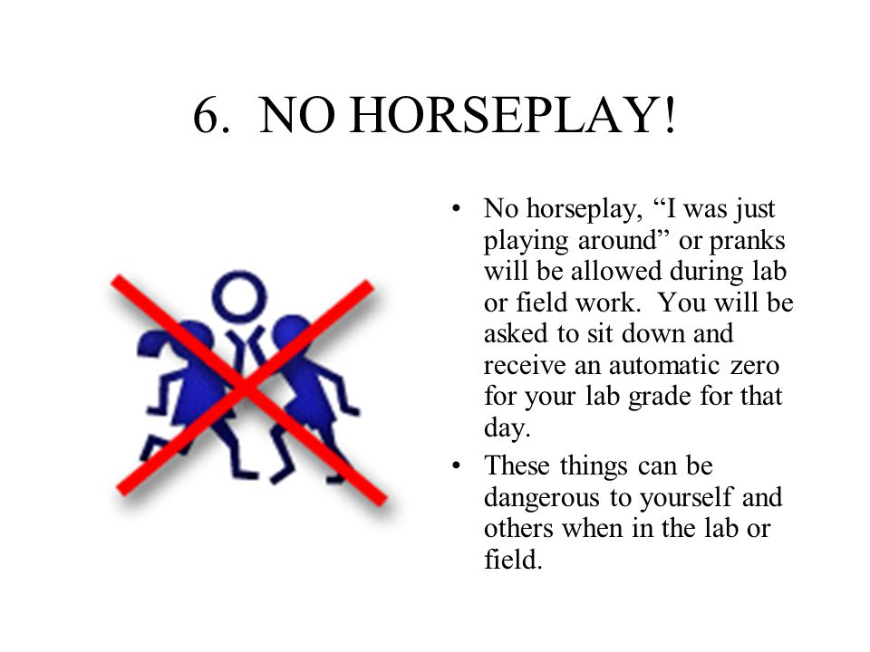 "6. NO HORSEPLAY! No horseplay, ""I was just playing around"" or pranks will be allowed during lab or field work. You will be asked to sit down and recei"