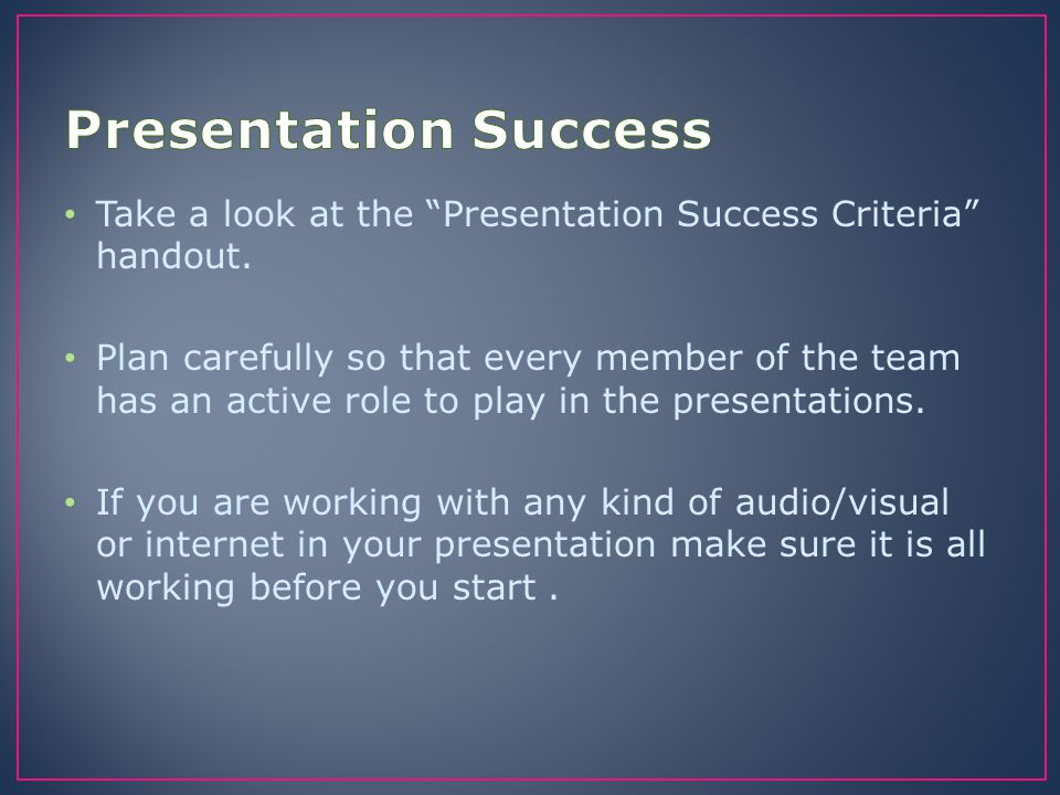 "Take a look at the ""Presentation Success Criteria"" handout. Plan carefully so that every member of the team has an active role to play in the presenta"