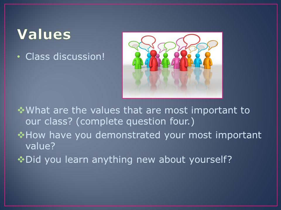 Individually create your own Personal Values Statement on the What do I value worksheet.